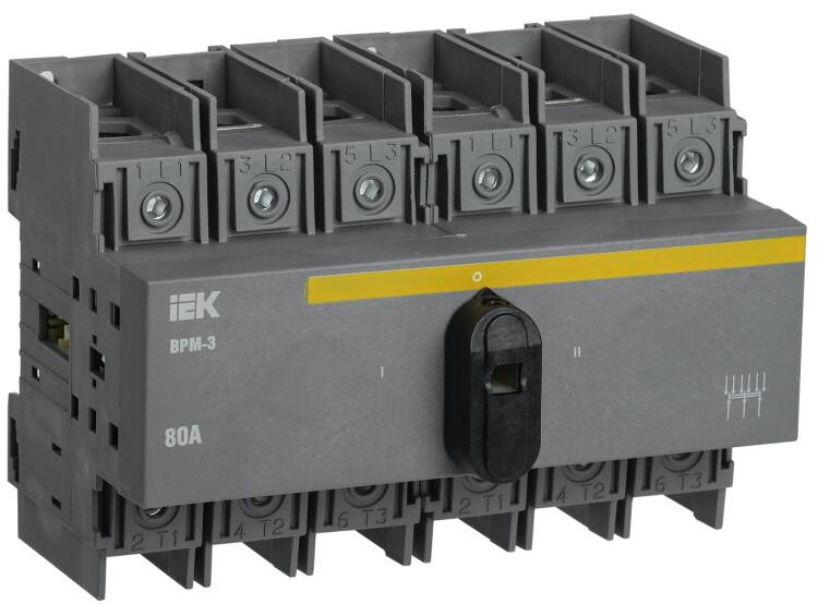 Выключатель-разъединитель модульный ВРМ-3 3P 80А   MVR30-3-080   IEK