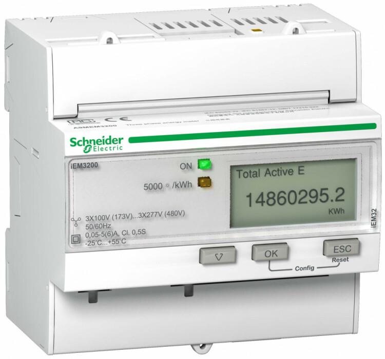 Счетчик 3-ф активной энергии iEM3100, 1 тариф, кл. точн. 0.5S, транс. включения | A9MEM3200R | Schneider Electric