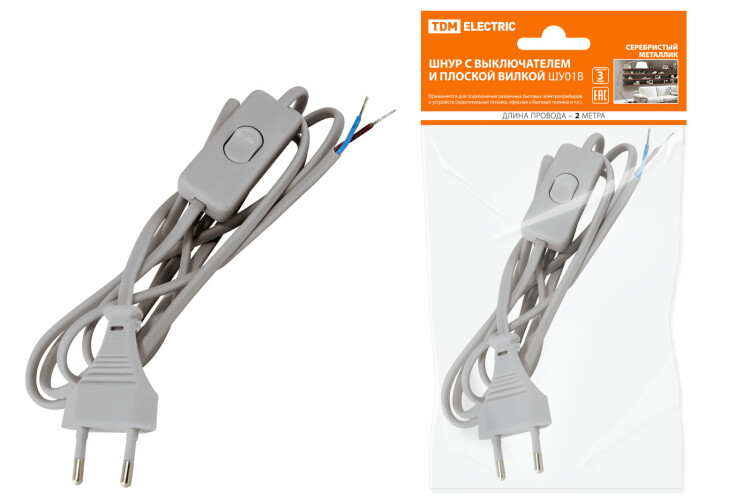 Шнур с выключателем и плоской вилкой ШУ01В ШВВП 2х0,75мм2 2м. серебр. металлик | SQ1305-0005 | TDM