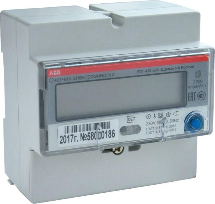 Счетчик 1-фазный акт. энергии,многотарифный, кл. точности 1,прямого вкл. 5(80)А, Modbus, тип E31 412-200 | 2CMA105937R1000 | ABB