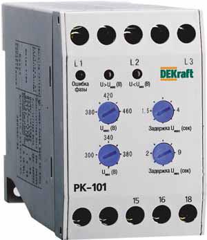 Реле контроля фаз 380В тип 01 серии РК-101   23300DEK   DEKraft
