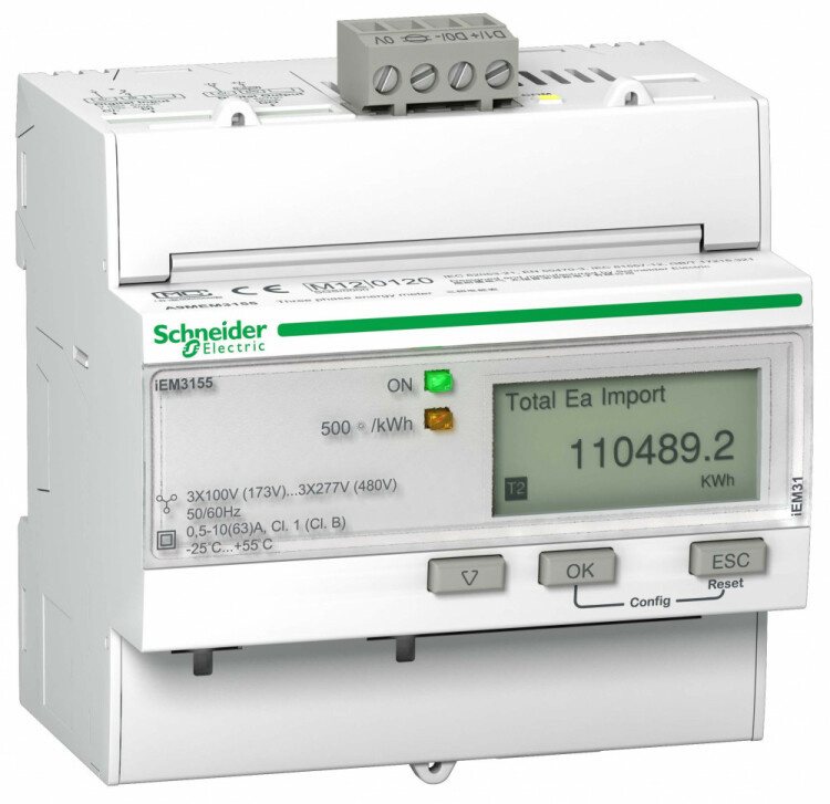 Счетчик 3-ф актив.-реакт. iEM3155, 4 тарифа, RS-485, кл. точн. 1, прям. вкл. | A9MEM3155R | Schneider Electric