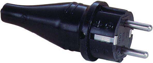 Вилка из массивной резины 16A, 2P+E, 250V, (черный) | 1429190 | ABL Sursum