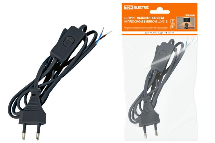 Шнур с выключателем и плоской вилкой ШУ01В ШВВП 2х0,75мм2 2м. черный | SQ1305-0002 | TDM