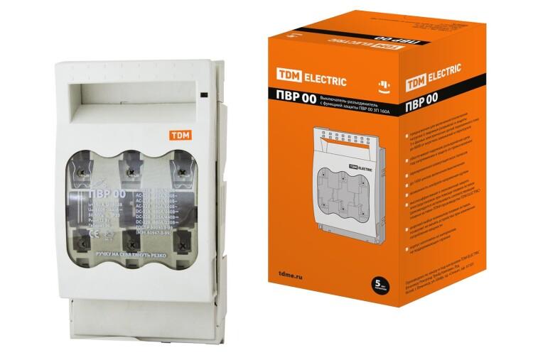 Выключатель-разъединитель с функцией защиты ПВР 00 3П 160A | SQ0726-0001 | TDM