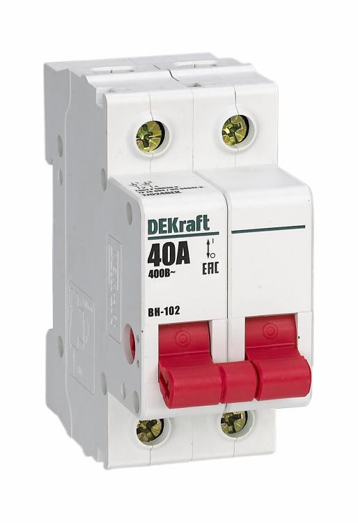 Выключатель-разъединитель 2Р 40А ВН-102 | 17024DEK | DEKraft