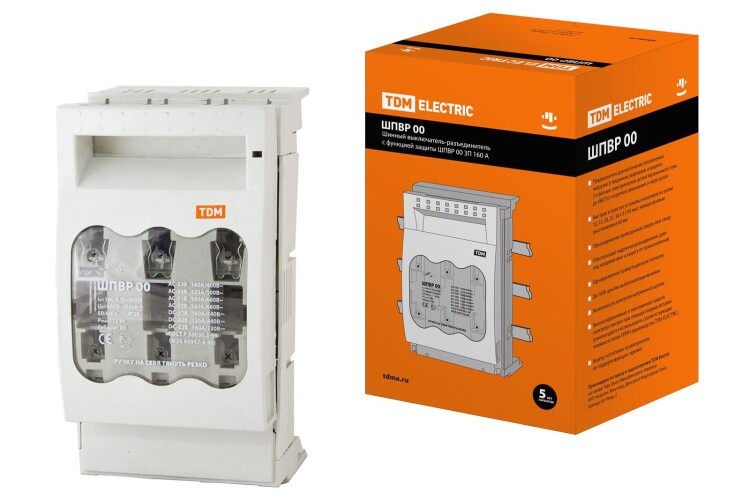 Шинный выключатель-разъединитель с функцией защиты ШПВР 00 3П 160A | SQ0726-0005 | TDM