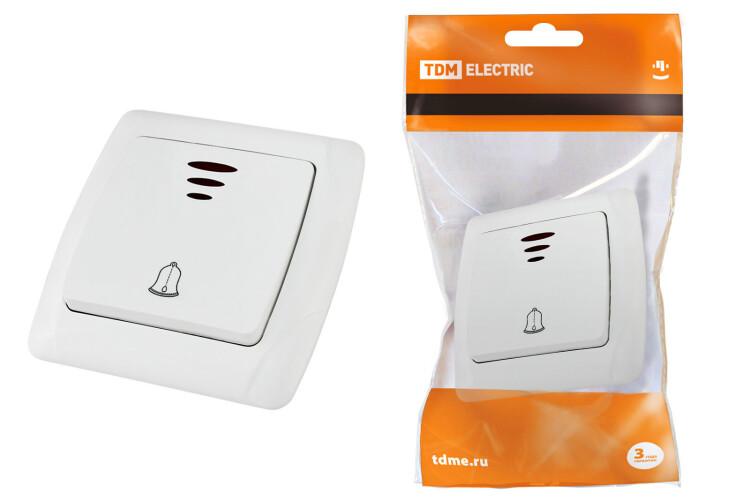 "Кнопка звонковая с подсветкой 6А белая ""Онега"" | SQ1805-0008 | TDM"