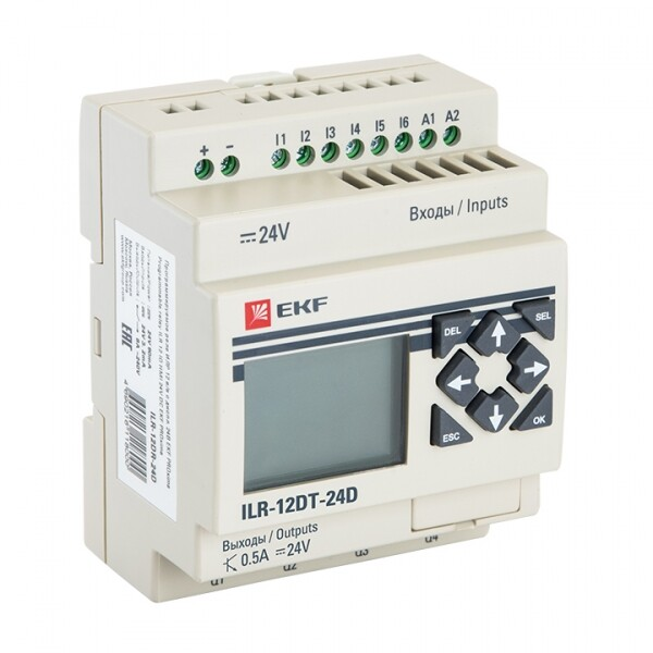 Программируемое реле 12 в/в т с диспл. 24В PRO-Relay EKF PROxima | ILR-12DT-24D | EKF