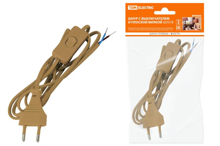 Шнур с выключателем и плоской вилкой ШУ01В ШВВП 2х0,75мм2 2м. бронза | SQ1305-0003 | TDM