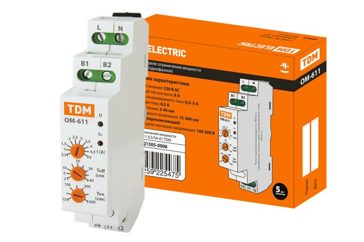 Реле ограничения мощности ОМ-611 0,5/5А-01 (1ф, через ТТ, 0,5-5А)   SQ1505-0006   TDM