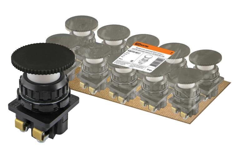 Выключатель кнопочный КЕ 021-У2-исп.1 гриб без фиксации черный 2з 10A 660B IP40   SQ0753-0017   TDM