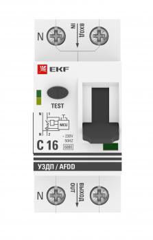Устройство защиты от дугового пробоя 1P+N 25А (C) 6 кА УЗДП EKF PROxima | afdd-2-25C-pro | EKF
