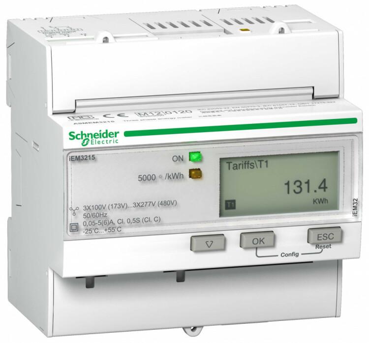 Счетчик 3-ф активной энергии iEM3115, 4 тарифа, кл. точн. 0.5S, транс. вкл. | A9MEM3215R | Schneider Electric