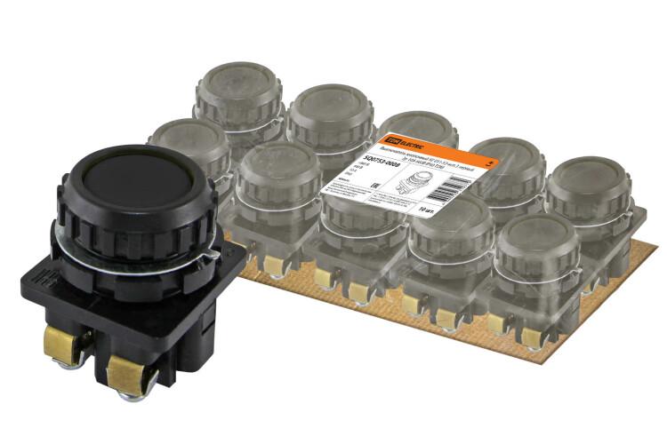 Выключатель кнопочный КЕ 011-У2-исп.3 черный 2р 10A 660B IP40   SQ0753-0008   TDM