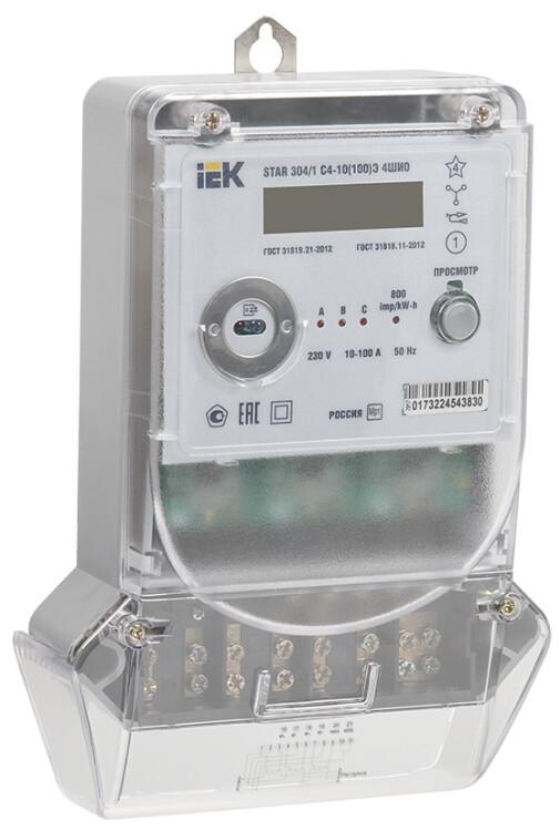 Счетчик эл. энергии трехфазный многотарифный STAR 304/1 С4-10(100)Э 4ШИО   CCE-3C4-2-02-1   IEK