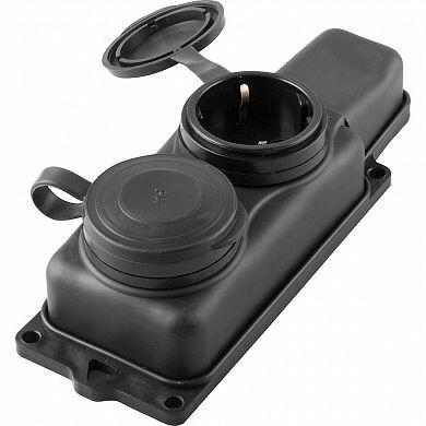 RST16-22-44 Розетка переносная 2-местная c/з, каучук 250В,16А, IP44, серия Одри, черный | 32738 | STEKKER