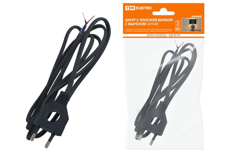 Шнур с плоской вилкой с вырезом ШУ04 ШВВП 2х0,75мм2 1,7 м. черный | SQ1305-0032 | TDM