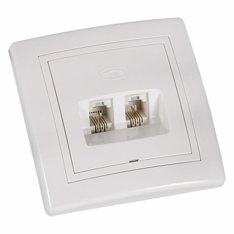 Телефонная розетка 2 гн. RJ-11(6P-4C), внутренняя, накладная рамка, белая   78-0159   REXANT