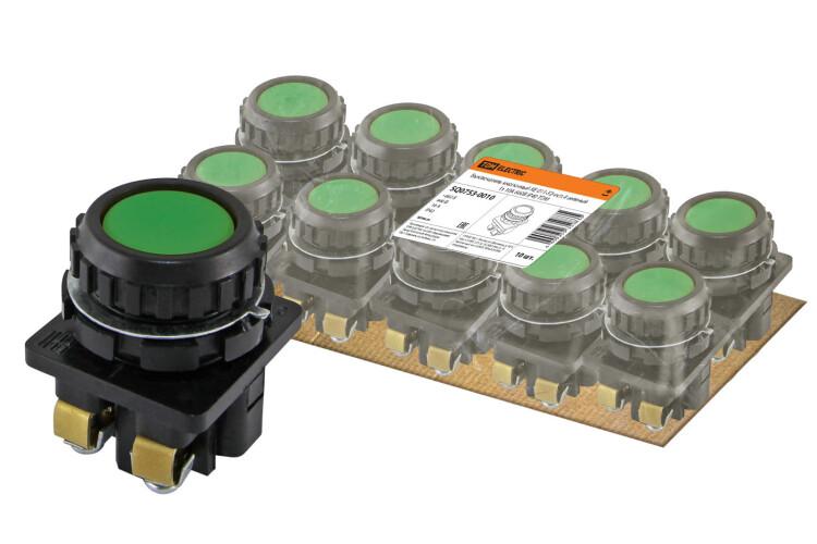 Выключатель кнопочный КЕ 011-У2-исп.4 зеленый 1з 10A 660B IP40   SQ0753-0010   TDM