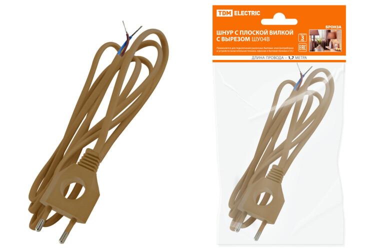 Шнур с плоской вилкой с вырезом ШУ04 ШВВП 2х0,75мм2 1,7 м. бронза | SQ1305-0033 | TDM