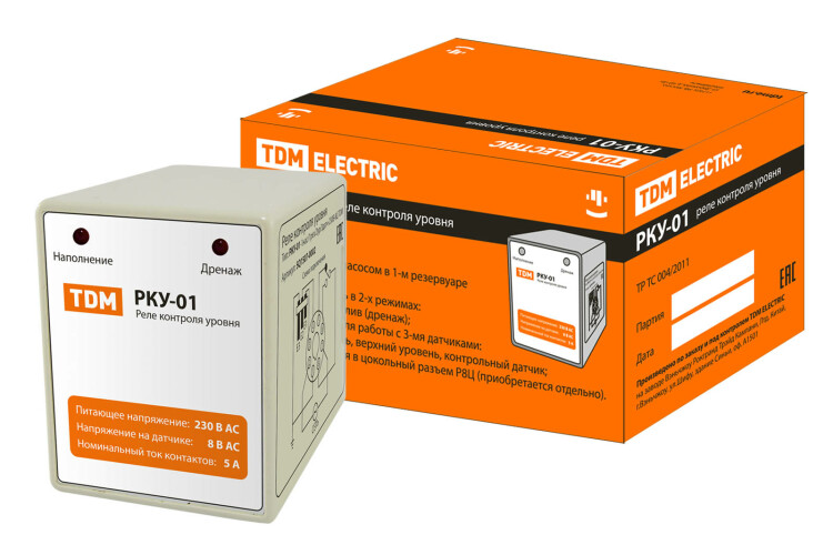Реле контроля уровня серии РКУ-01-1нас/1рез/2ур/3датч-230В-8Ц (без датчиков) | SQ1507-0002 | TDM