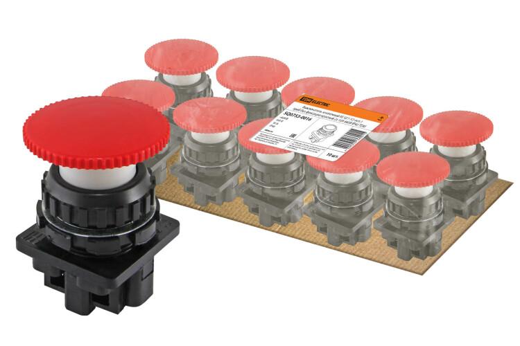 Выключатель кнопочный КЕ 021-У2-исп.1 гриб без фиксации красный 2з 10A 660B IP40   SQ0753-0016   TDM
