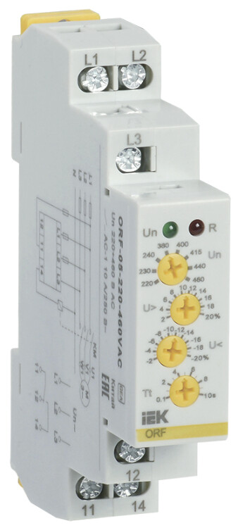 Реле фаз ORF 05. 3ф 220-460 В AC   ORF-05-220-460VAC   IEK