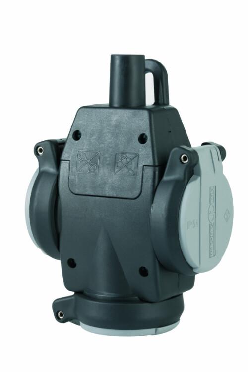 Тройник из натуральной резины с самозакр. крыш. и лампочкой-индикат.напр., IP54, 16A, 2P+E, 250V, (серый/черный), SCHUKO Ultra | 1173563 | ABL Sursum