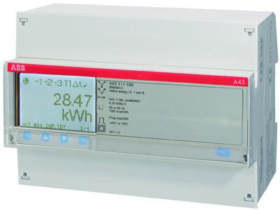 Счетчик 3-фазный активной энергии,1-тарифный,кл. точности 1,прямого вкл. 5(80)А, имп. выход,тип A43 111-200 | 2CMA100106R1000 | ABB