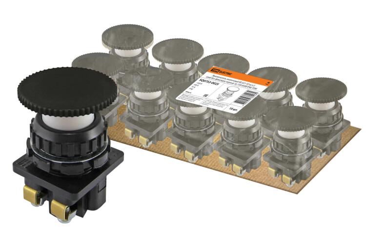 Выключатель кнопочный КЕ 021-У2-исп.5 гриб без фиксации черный 1р 10A 660B IP40   SQ0753-0025   TDM