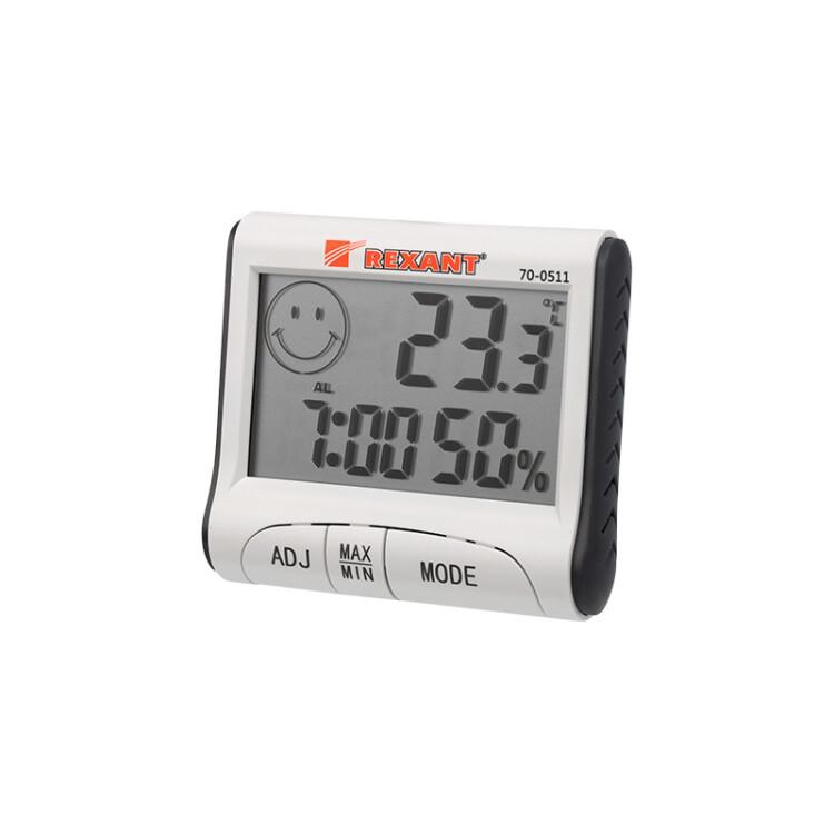 Термогигрометр комнатный с часами и функцией будильника | 70-0511 | REXANT