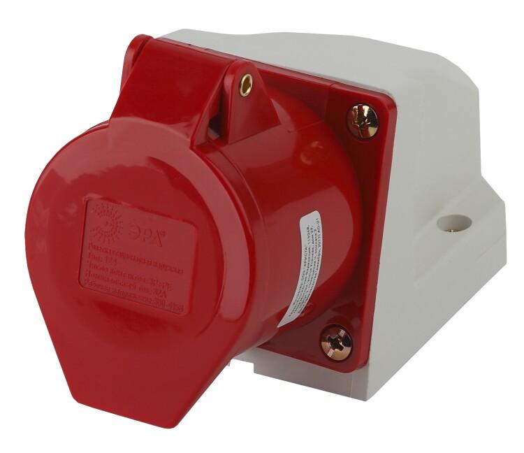 Розетка стационарная наружная 124 3Р+РЕ 32А 380В IP44 | Б0032878 | ЭРА
