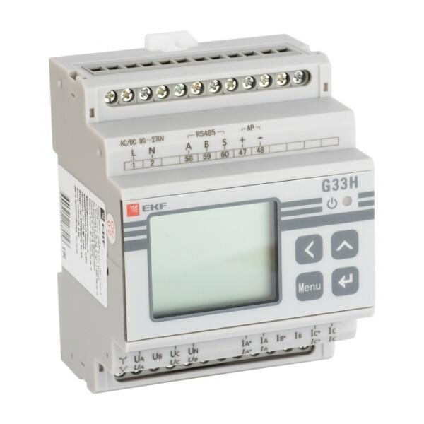 Многофункциональный измерительный прибор G33H с жидкокристалическим дисплеем на DIN-рейку   sm-g33h   EKF