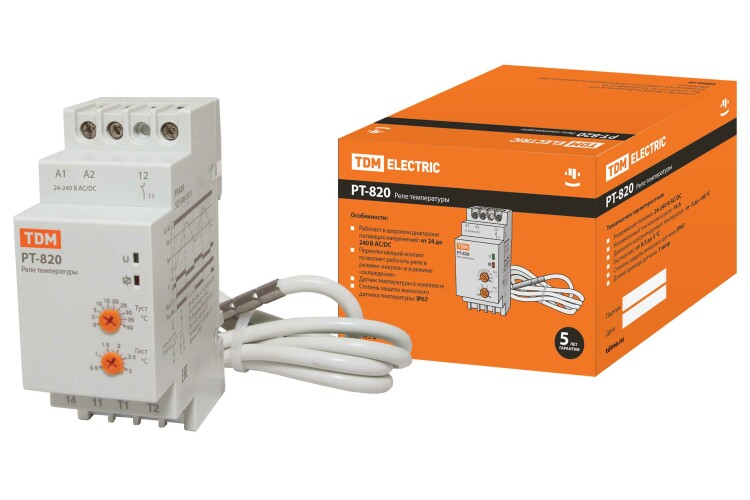 Реле температуры РТ-820 (-5+40С, 24-240В АС/DC, с датч. IP67) | SQ1508-0001 | TDM