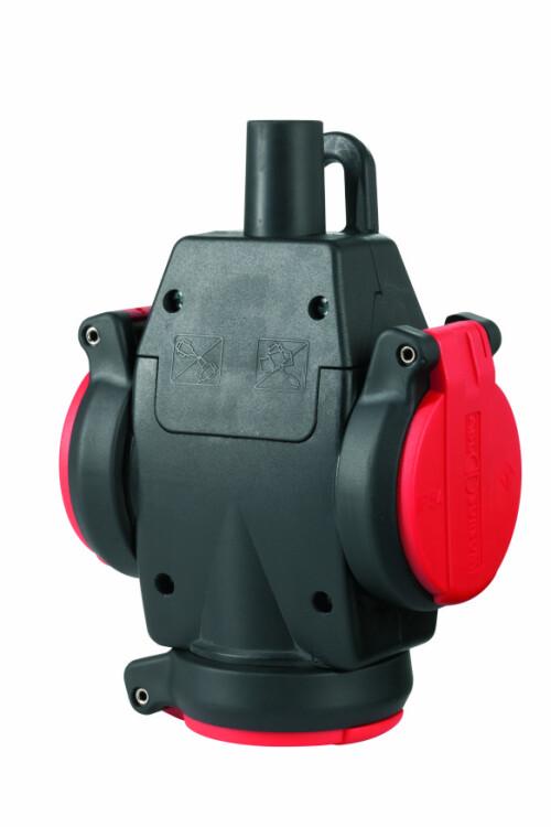 Тройник из натуральной резины с самозакр.крыш.и лампочкой-индикат. напр., IP54, 16A, 2P+E, 250V (красный/черный), SCHUKO Ultra | 1173543 | ABL Sursum